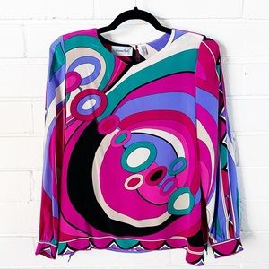Vintage Pucci vibes Adrianna Papell silk top Sz 8